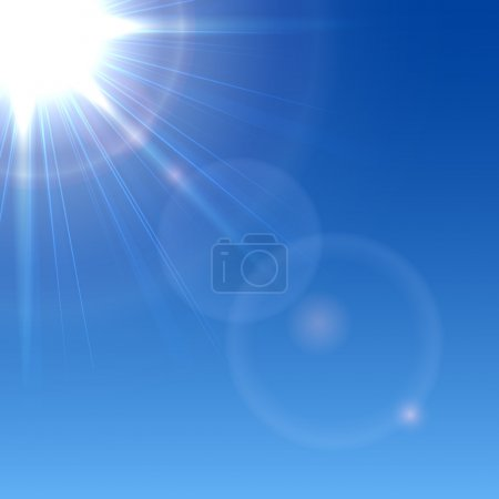 Illustration for Shining Sun in a blue sky, illustration. - Royalty Free Image