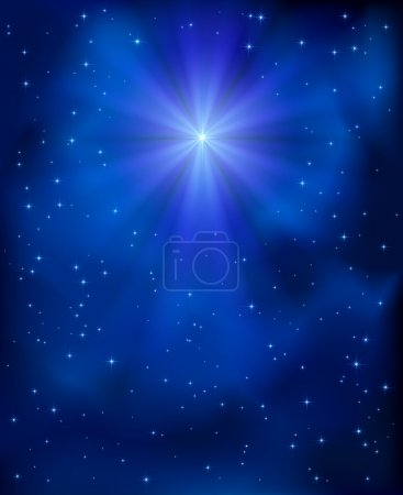 Illustration for Shining Christmas star in the blue sky, illustration. - Royalty Free Image