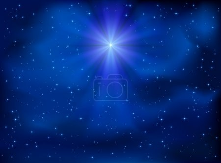 Illustration for Shining Christmas star in the night sky, illustration. - Royalty Free Image