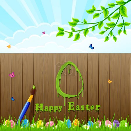 Easter background and paintbrush