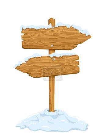 Illustration pour Panneau en bois avec neige isolée sur fond blanc, illustration . - image libre de droit