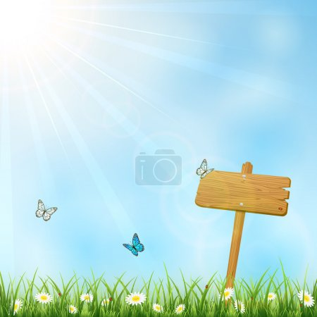 Nature background with wooden sign