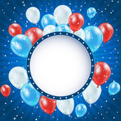 Independence day background with balloons and stars