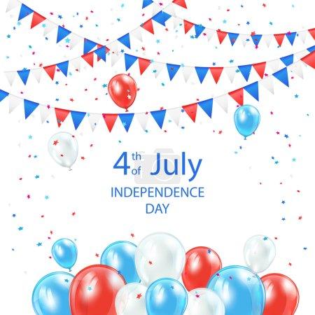 Ilustración de Feliz día de la independencia antecedentes con globos, banderines y confeti, Ilustración. - Imagen libre de derechos