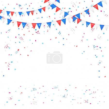 Illustration pour Fond du jour de l'indépendance avec des drapeaux colorés et confettis, illustration . - image libre de droit