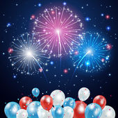 Independence day background with balloons and fireworks on night sky illustration