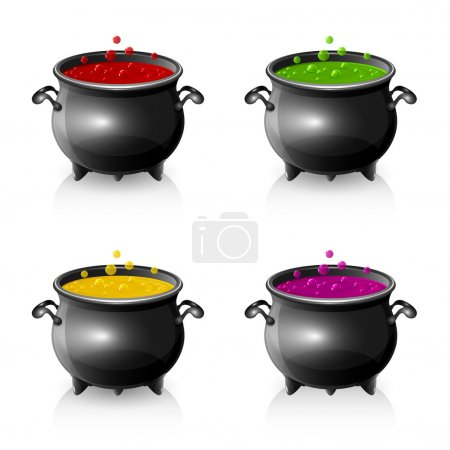 Illustration for Set of Halloween witches cauldrons with potion, illustration. - Royalty Free Image