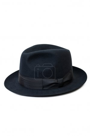 Photo for Black hat for man with classic look, isolated on white background - Royalty Free Image