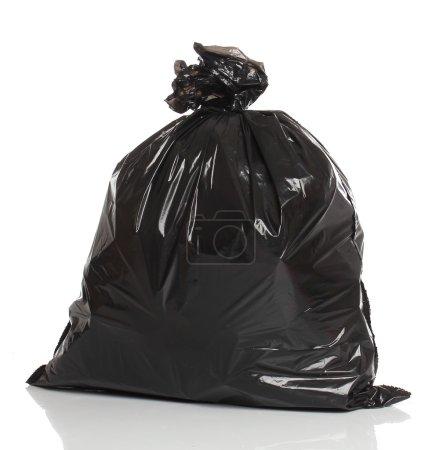 Photo pour Sac poubelle noir isolé sur fond blanc - image libre de droit