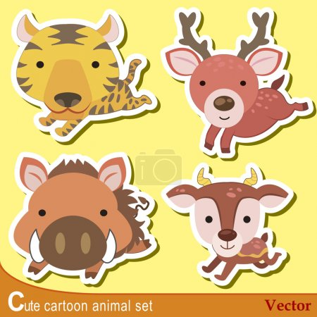 Photo for Set of cute cartoon animals with tiger, wild boar,elk,and antelope. - Royalty Free Image
