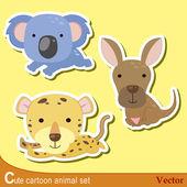 Set of cute cartoon animals with jaguar koalaand kangaroo
