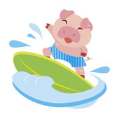 A cute pig rides on a surfboard