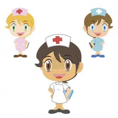 Illustration for Happy nurses, vector illustration - Royalty Free Image