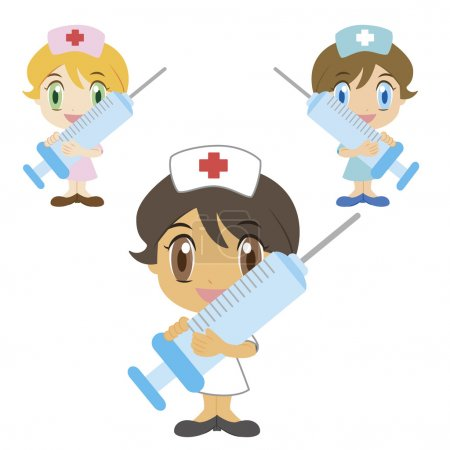 Illustration for A cartoon nurse with a syringe, three colors - Royalty Free Image
