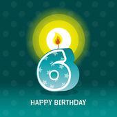 Birthday card sixth birthday with candle