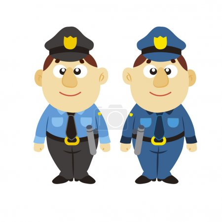 Illustration for Funny cartoon policeman, two colors, vector - Royalty Free Image