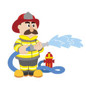 An illustration of cartoon fireman vector