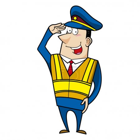 Illustration for Male cartoon police officer greeting - Royalty Free Image