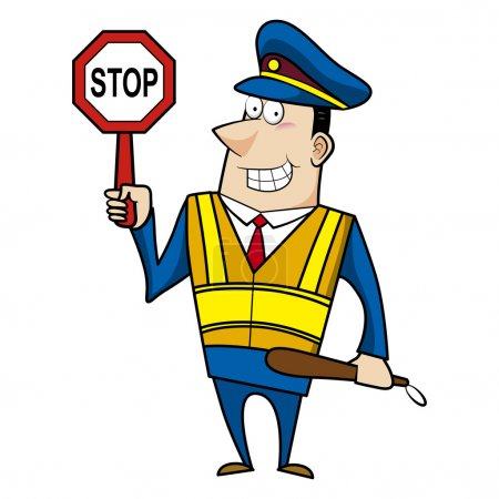 Illustration for Male cartoon police officer holding a stop sign - Royalty Free Image