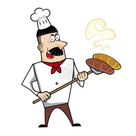Cartoon Chef with Fresh Bread