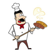 Cartoon chef with freshly baked bread vector illustration