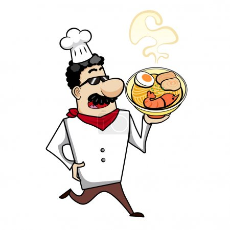 Cartoon Chef with Ramen Bowl
