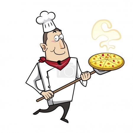 Illustration for Cartoon chef with pizza vector illustration. - Royalty Free Image