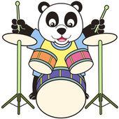 Cartoon Panda Playing Drums