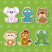 Six Cute Cartoon Animal Stickers