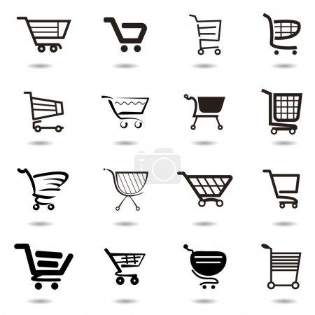 Illustration pour Set collection d'icônes de panier vectoriel - image libre de droit