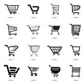 Nastavit kolekci vektoru nákupní košík ikony