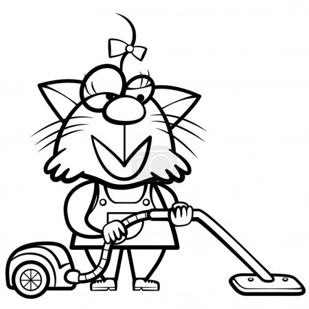 coloring cartoon cat housewife with a vacuum cleaner