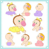 Vector illustration of baby boys and baby girls with white background
