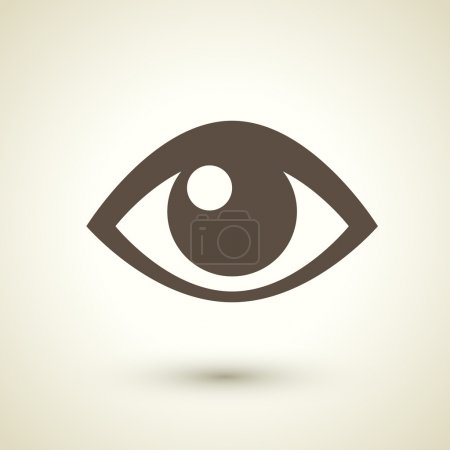 Illustration for Retro style eye icon isolated on brown background - Royalty Free Image