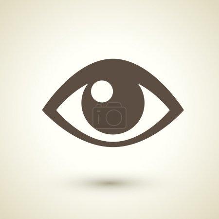 Illustration pour Icône oeil de style rétro isolé sur fond brun - image libre de droit