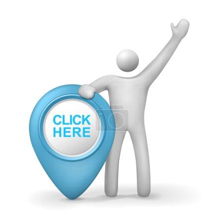 Illustration pour 3d humain avec cliquez ici symbole isolé fond blanc - image libre de droit