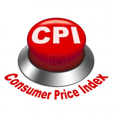 Illustration for 3d illustration of CPI ( Consumer Price Index ) button isolated white background - Royalty Free Image