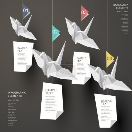 Illustration for Modern vector abstract origami paper cranes infographic elements - Royalty Free Image