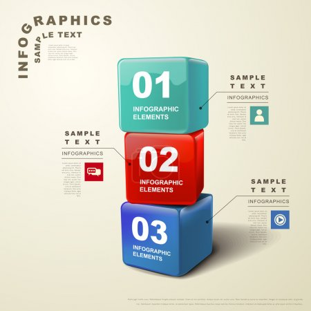 Illustration for Modern vector abstract 3d cube infographic elements - Royalty Free Image