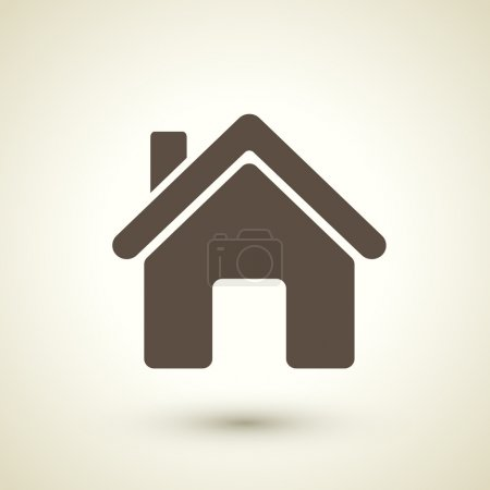Retro style home icon isolated on brown background...