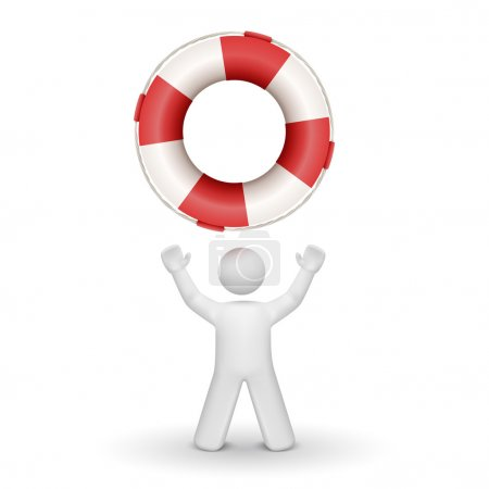 Illustration for 3d person looking up at a buoy isolated white background - Royalty Free Image