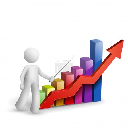 Illustration for 3d man is explaining the bar chart isolated white background - Royalty Free Image