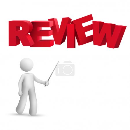 "3d person pointing at a word ""review"""