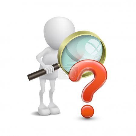 3d person with magnifying glass question mark red search