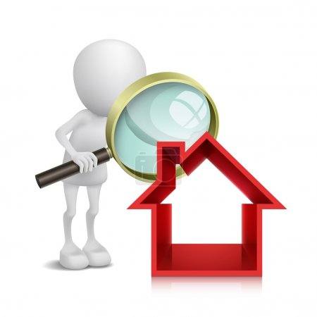 3d person with a magnifying glass to check a house