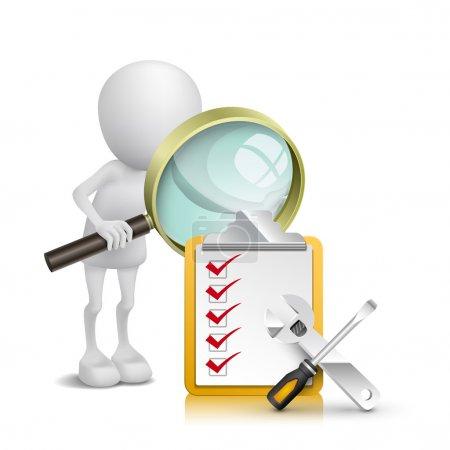 Illustration pour 3d personne regardant la liste de vérification et les outils avec une loupe - image libre de droit