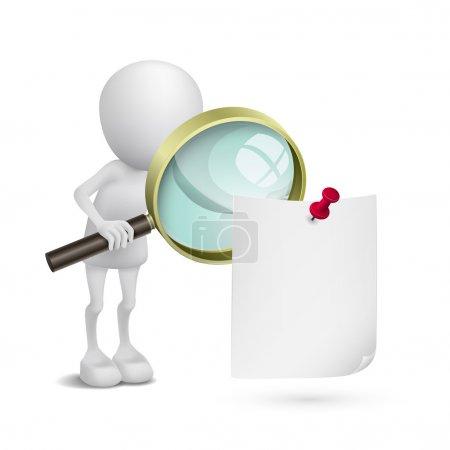Illustration pour 3d personne regardant le papier avec une loupe - image libre de droit