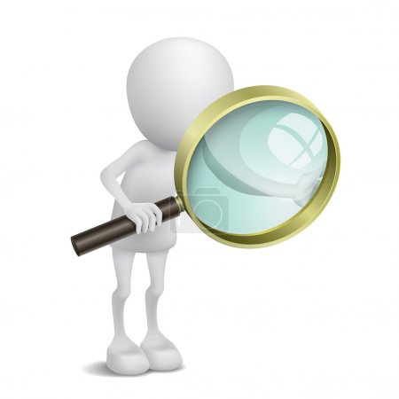 Illustration for 3d person is using the magnifying glass - Royalty Free Image