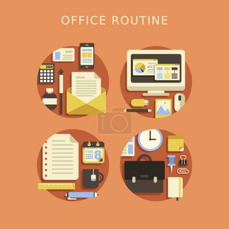 Illustration for Flat design concept of routine office and business lifestyle - Royalty Free Image