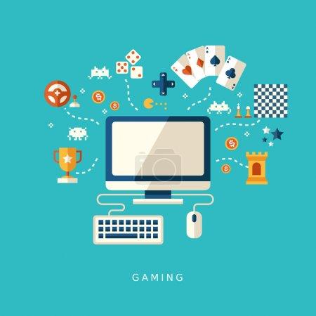 Illustration pour Conception plate icônes concept de jeux informatiques pour interface - image libre de droit
